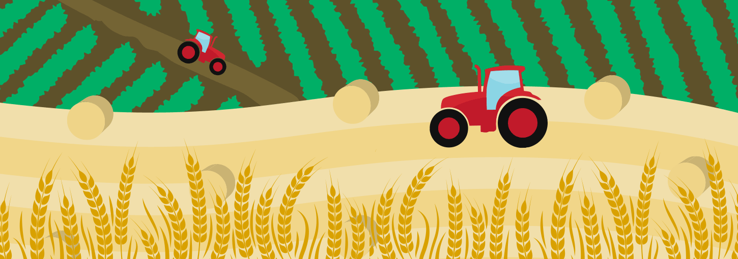 An illustration of tractors on a farm.